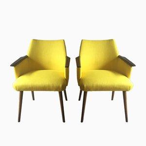 Kanariengelbe Sessel, 1950er, 2er Set