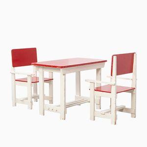 Tavolo e sedie da bambino vintage in legno
