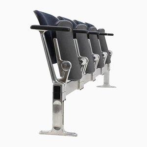 Banco de cuatro plazas vintage de aluminio de Giancarlo Piretti para Castelli