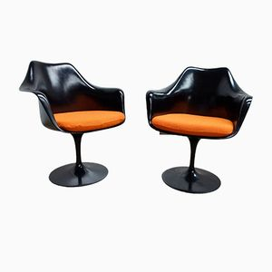 Black Swivel Tulip Armchairs by Eero Saarinen for Knoll International, 1980s, Set of 2