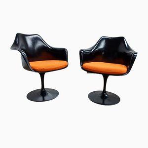Poltrona girevole Tulip nera di Eero Saarinen per Knoll International, anni '80, set di 2