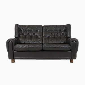 Mid-Century Black Leather Sofa
