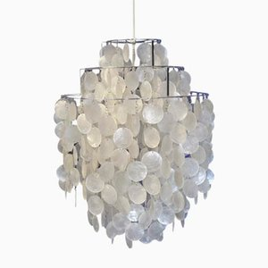 Vintage Fun 1 DM Mother of Pearl Chandelier by Verner Panton for Lüber