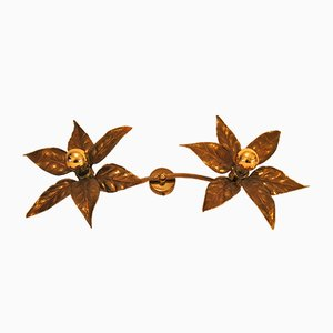Belgian Brass Flower Wall Lamp from Massive, 1970s