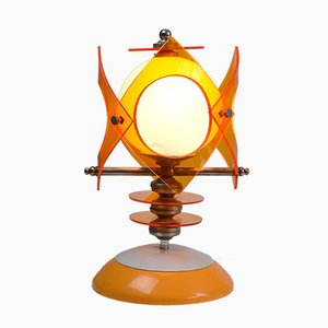 Lampe de Table Space Age en Verre Opaline et en Lucite, 1970s
