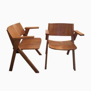 Chaises Vintage en Bois, 1970s, Set de 2