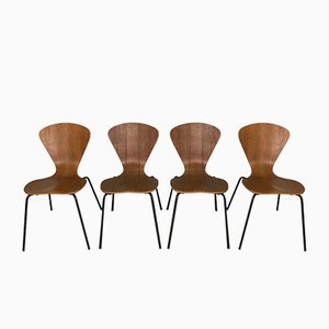 Danish Steel Chairs in Teak, 1950s, Set of 4