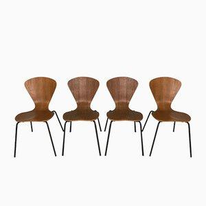 Model 3204 Chairs by Arne Jacobsen for Fritz Hansen, 1950s, Set of 4