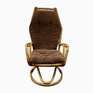 Swedish Bamboo and Wicker Armchair, 1960s