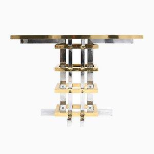 Mesa consola de latón y cromado