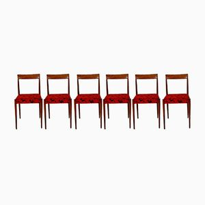 Vintage Red Dining Chairs, Set of 6
