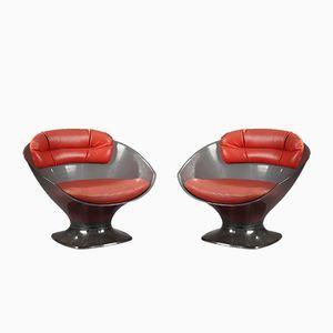 Vintage Sessel aus Plexiglas & Leder von Raphael Raffel, 2er Set