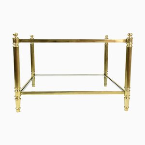 Vintage French Brass Two Tier Glass Coffee Table, 1970s