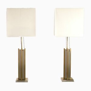 Brass and Chrome Lamps by Gaetano Sciolari, 1970s, Set of 2