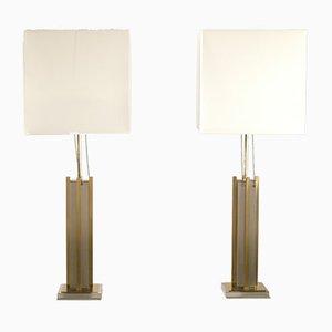 Lámparas de latón y cromado de Gaetano Sciolari, años 70. Juego de 2