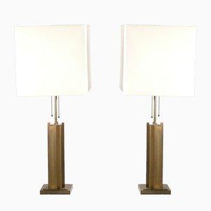 Lámparas de latón y bronce de Gaetano Sciolari, años 70. Juego de 2