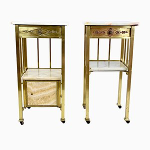Art Nouveau Night Stands in Brass and Marble, 1910, Set of 2