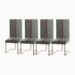 Chaises en Métal Brossé par Guy Lefevre pour Maison Jansen 1970s, Set de 4