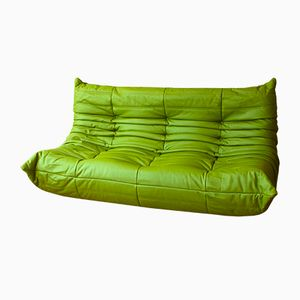 Vintage Green Apple Leather Togo Three-Seater Sofa by Michel Ducaroy for Ligne Roset