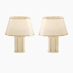Lámparas de mesita de noche pequeñas lacadas de JC Mahey para Romeo, años 70. Juego de 2