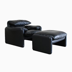 Mid-Century Maralunga Leather Lounge Chair and Ottoman by Vico Magistretti for Cassina