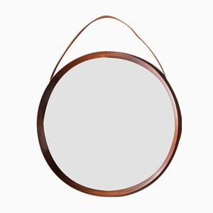 Round Teak Mirror by Uno & Östen Kristiansson for Luxus Vittsjö, 1960