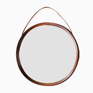 Specchio rotondo in teak di Uno & Östen Kristiansson per Luxus Vittsjö, 1960