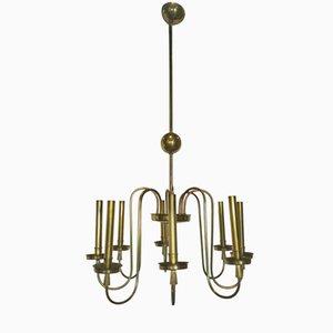 Italian 8 Light Chandelier in Brass, 1960s