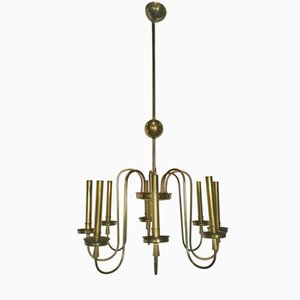 Lámpara de araña italiana de latón con ocho luces, años 60