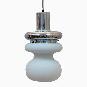 Lámpara colgante italiana de vidrio opalino y cromo, años 70