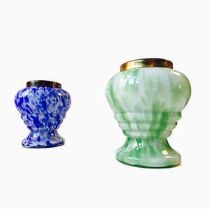 Tschechische Kunst Vasen aus Glas mit Messingrand von Ruckl, 2er Set