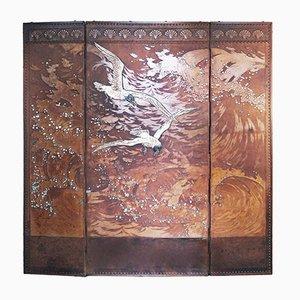 Pantalla francesa antigua de 3 paneles de cuero