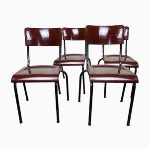 Sedie in metallo e bachelite di René Herbst, anni '40, set di 4