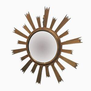 Espejo en forma de sol de latón dorado, años 60