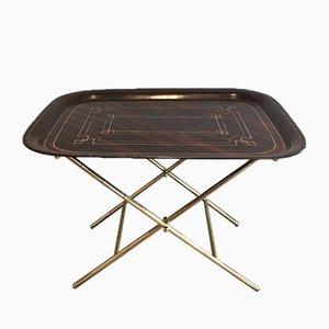 Tavolo in ottone e tole dipinto, anni '50