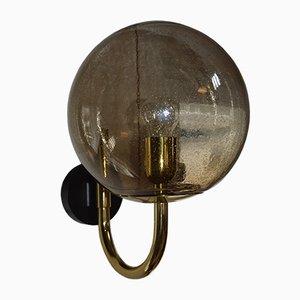 Schwedische Vintage Rauchglas Wandlampe, 1969