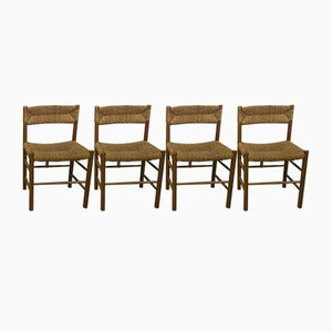 Vintage Straw & Pine Chairs by Robert Sentou, Set of 4