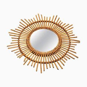 Mid-Century French Wicker Sunburst Mirror, 1960s
