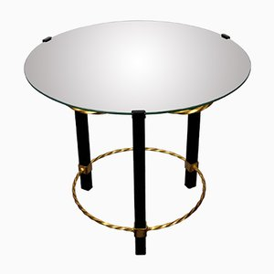 Gilded & Black Lacquered Metal Gueridon with Glass Top, 1950s