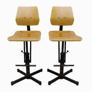 Industrial Beech & Metal High Chairs, 1950s, Set of 2