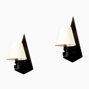 Konstruktivistische Wandlampen aus Glas & Schwarzem Holz, 2er Set, 1930er