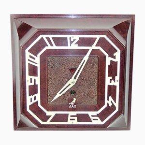 Reloj de pared cuadrado de baquelita de JAZ, 1935