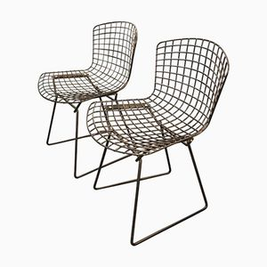 Vintage Black Wire Dining Chairs by Harry Bertoia for Knoll , Set of 2
