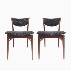 Chaises de Salon Vintage en Teck et en Tissu, Set de 2