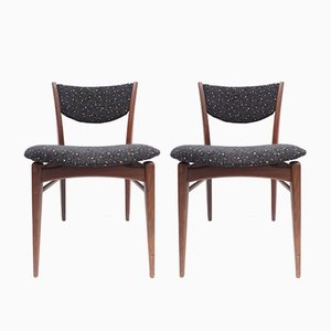 Vintage Teak und Stoff Esszimmerstühle, 2er Set
