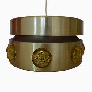 Lampada a sospensione Mid-Century in metallo e cristallo di Vitrika