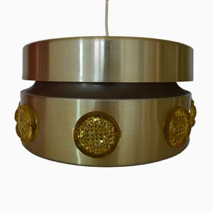 Lampe à Suspension Mid-Century en Métal et en Cristal de Vitrika