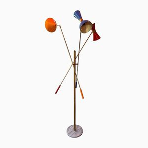 Vintage Italian Floor Lamp with Three Reflectors