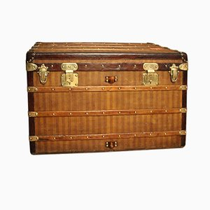 Antique Striped Canvas Steamer Trunk from Louis Vuitton