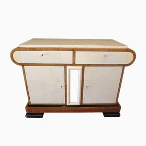 Art Deco Italian Sideboard in Birch and Parchment, 1930